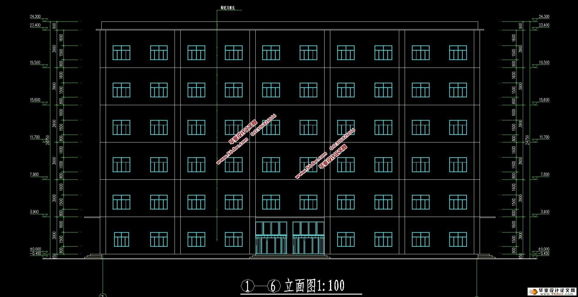 六层3700平米框架结构酒店宾馆设计(建筑图,结构图,总