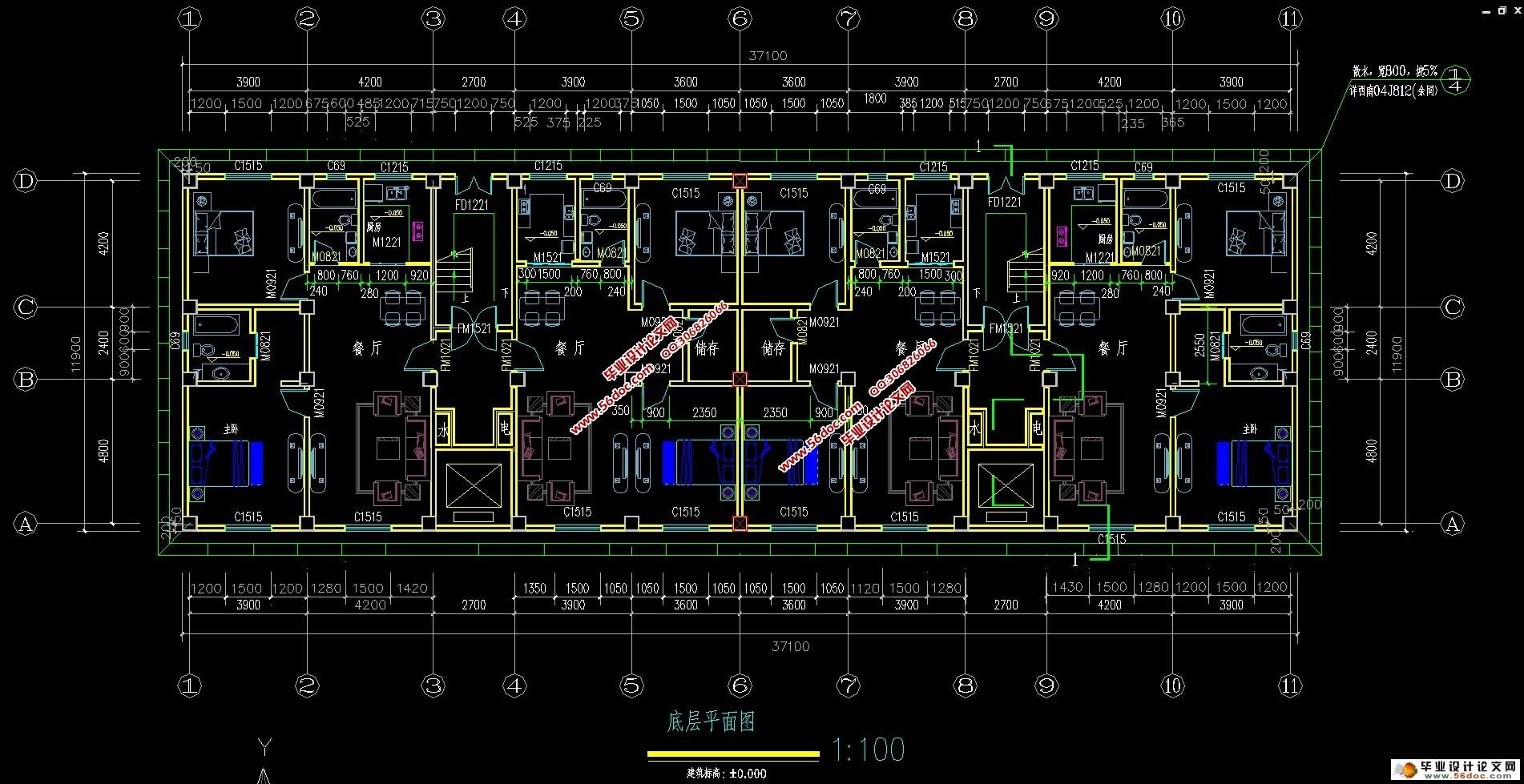 十二层5300平米高层住宅楼设计(建筑图,结构图,总平面